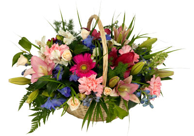 A lovely basket of pastel colours and greenery perfect for any occasion