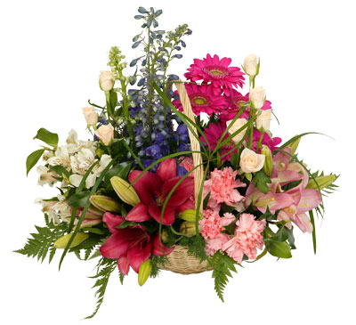 A gorgeous basket arrangement that encapsulates the essence of country gardens