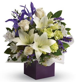 Gorgeous white lilies and delicate blue iris dance gracefully with roses and alstroemeria in this luxurious arrangement.