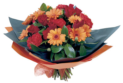 A beautifully rounded bouquet of fresh flowers