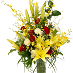 This beautiful seasonal bouquet will compliment any living area. Vase not included