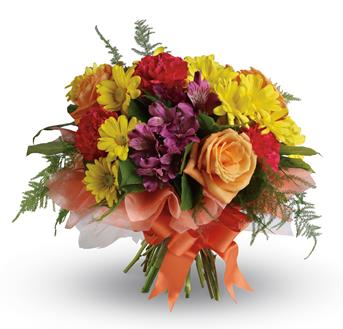 - Send a gift of precious moments - a perfectly pretty bouquet of daisies, roses, carnations and alstroemeria,hand-tied with a l