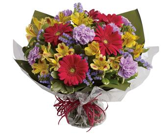 - Unexpected gifts are the best gifts! Send one they'll never forget with this sweet bouquet of hot pink, yellow and purple bloo