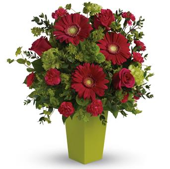 - A gorgeously chic gift for any occasion, this perky hot pink and green arrangement is pure fun. So much beauty for such a reas