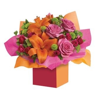 - Want to make someone's birthday really rosy? This is the perfect arrangement. Colourful roses, fun flowers all wrapped up in a