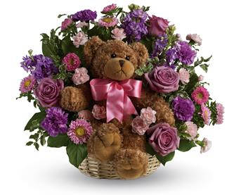 - Welcome the new bundle of joy to the family with this basket arrangement of lavender and pink blooms and a delightful bear.