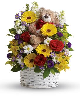- Send this mixed arrangement of sweet white and yellow daisies, red roses, stock and adorable bear. Arriving with it, it's sure