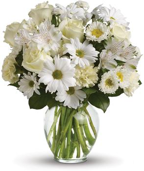- For a gift of pure joy, send snowy white flowers in a classic clear glass vase. This lovely arrangement is perfect for just ab