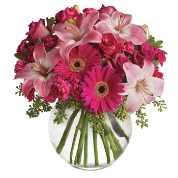 - Youthful. Graceful. Beautiful. Whether you want this gorgeous pink vase arrangement to say Happy Anniversary or Happy Any Day,