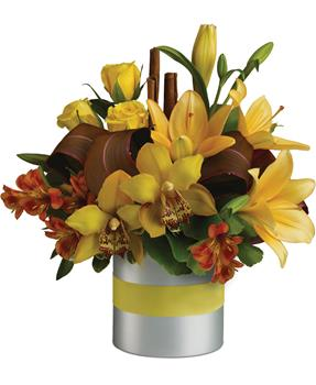- This glorious arrangement of yellow and orange flowers, is a floral creation that's done to perfection.