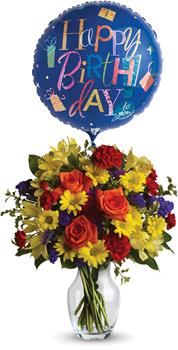 - Make birthday spirits soar by sending this fabulously fun vase arrangement and balloon. Bright primary colours make it perfect