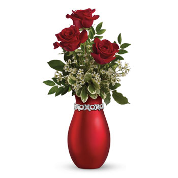 It's the thought that counts, but it counts a bit more when it is expressed with three gorgeous red roses in a lovely XOXO keeps