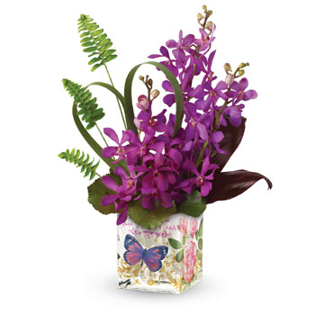 Want to make someone feel like they're on a tropical  honeymoon? This romantic gift is the perfect choice. Exotic purple orchids
