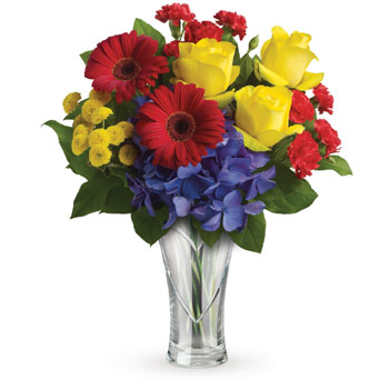 Whether you are giving a vase to celebrate a birthday, a new job or any other occasion, here's the one to send.A bright arrangem