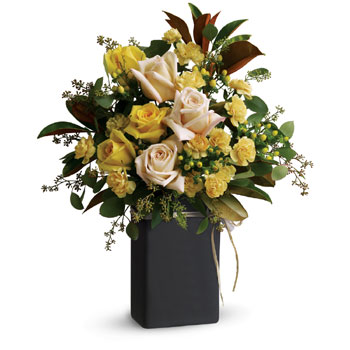 Send this cheerful gift of yellow and cream blooms, accented with greenery and arranged in a ceramic Chalk It keepsake vase, tha