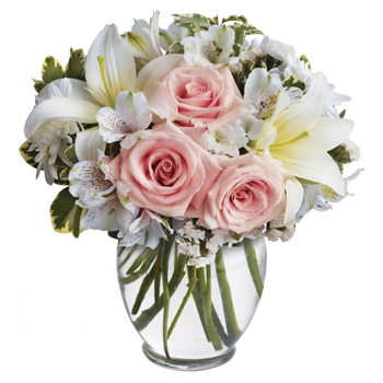 Your best wishes will arrive in style with this feminine vase arrangement
