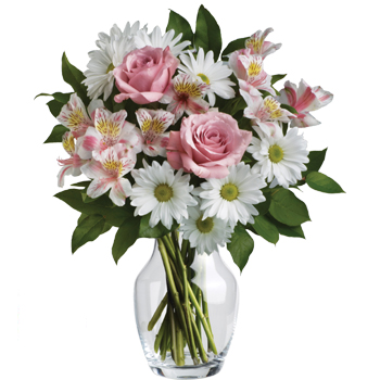 A sweet, simple statement of your sincere love - arranged in a lovely glass vase