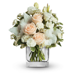 White & Peach Flowers with Vase