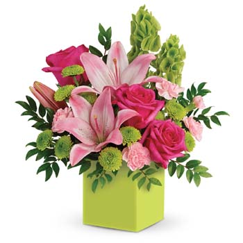 Fresh shades of green are a great way to contrast pink roses and lilies. Show Mum you care.