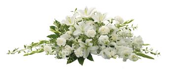 - The purity of this all-white casket spray creates an aura of serenity and peace. A beautifully memorable final farewell to a l