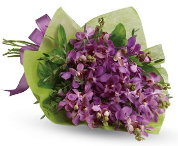 - This eye-catching bouquet of lavender orchids is an eloquent expression of your affection.