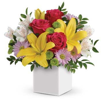 Looking to delight someone special? This cute, colourful gift of sunshiny lilies and pretty pink roses is the perfect gift!