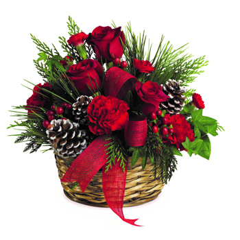 Charming round basket filled with bright red roses, carnations and hypericum accented with pinecones and a shiny red ribbon