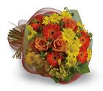 Say thank you with a cheerful bouquet of bright orange gerberas and roses paired with alstroemeria and daisies.