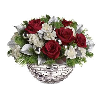 Sparkle Keepsake bowl arrangement of red roses, white mini carnations accented with festive greenery, silver leaves and baubles.