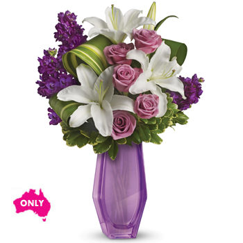 Go all out for her with this arrangement in a spectacular lavender Beauty glass vase
