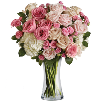 Roses and hydrangea delivered in a beautiful glass vase
