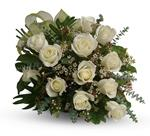 This beautiful flower bouquet of dreamy white roses and graceful greens delivers innocence and elegance.