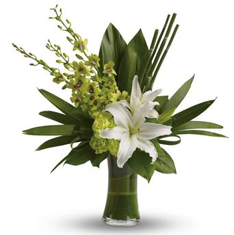 The graceful beauty of white lilies and opulent orchids is highlighted in this splendid arrangement