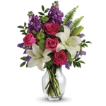Chic and modern - just like Mum! Make her Mother's Day sparkle with this gorgeous vase arrangement of hot pink roses and white l